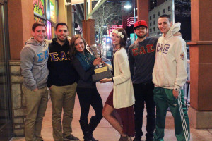 Photo provided by Brandon Barca First place winners of Mackay Week, Sigma Alpha Epsilon and Nevada Cheer are the firsttime holders of the Mackay Cup.