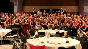 Photo courtesy of Alex Ybarra Attendees of the Interfraternity Council Benefit Dinner gather for a photo in the Milt Glick Ballrooms on Tuesday, Nov. 11. A majority of the audience consisted of Greek members who came together in support of St. Jude Children's Research Hospital.