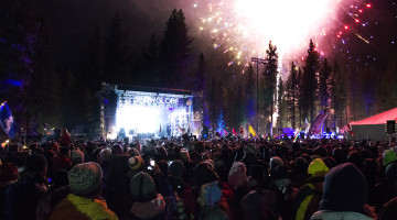 Breanna Denney /Nevada Sagebrush (Above) Revelers celebrate the New Year at SnowGlobe Music Festival while Flume performed on Wednesday, Dec. 31.