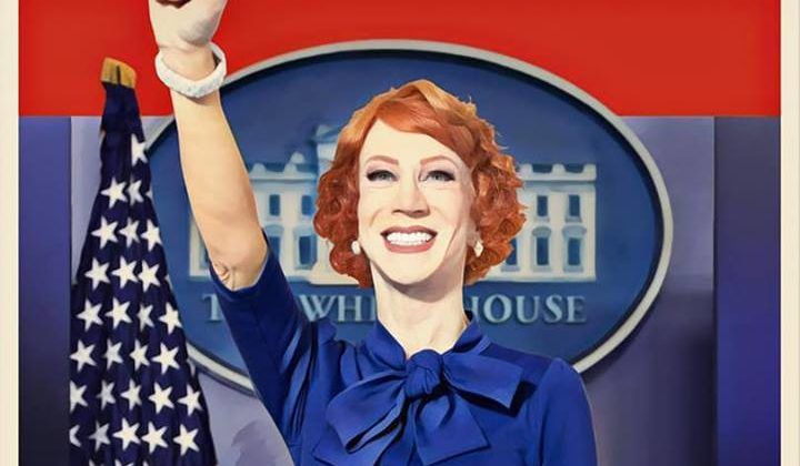 "Woman with short red hair and blue button-up shirt with fist in the air standing at a podium, there's a White House logo and red, white and blue flag behind her, the name ""Kathy Griffin"" is at the top of the page and the words ""A Hell Of A Story"" are placed across the podium"